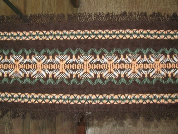 Fall Table Runner-Swedish Weaving-Brown by rdrunnercreations