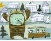 the giant suburban bear monster small print