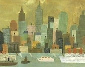NYC from Staten Island. Limited edition print by Matte Stephens.