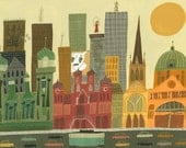 Melbourne.  Limited edition print by Matte Stephens.