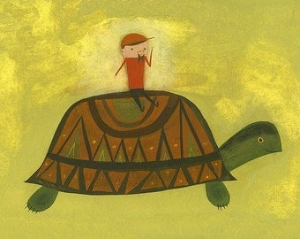 Turtle Ride. Limited edition print by Matte Stephens.