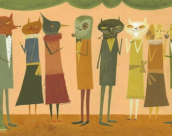 A Party. Limited edition print by Matte Stephens.
