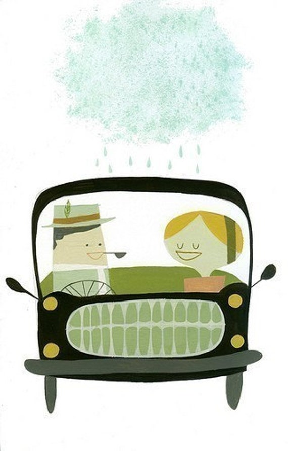 Driving in Europe.  Limited edition print.
