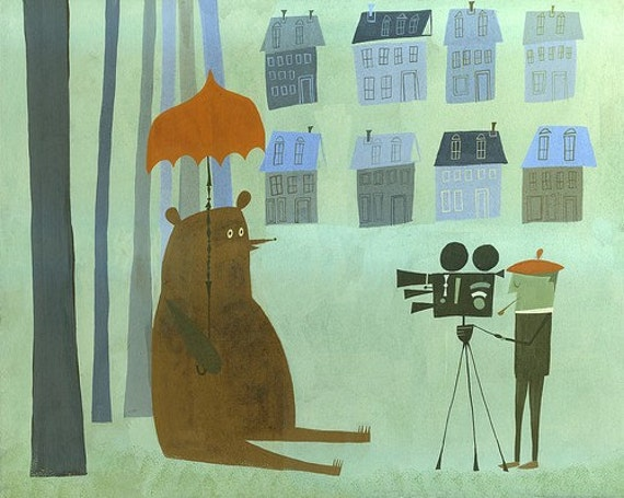 Capturing the bear in his natural habitat.  Limited edition 13x19 print by Matte Stephens.