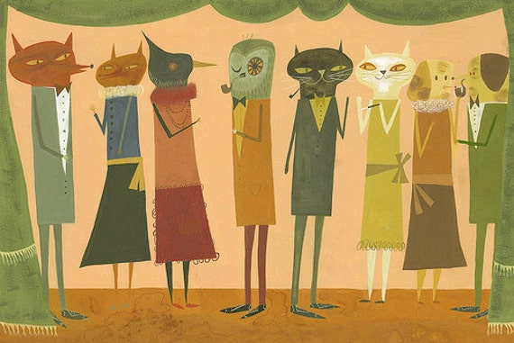 A Party. Original gouache painting by Matte Stephens.