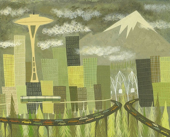 Seattle. Limited edition 13x19 print by Matte Stephens.