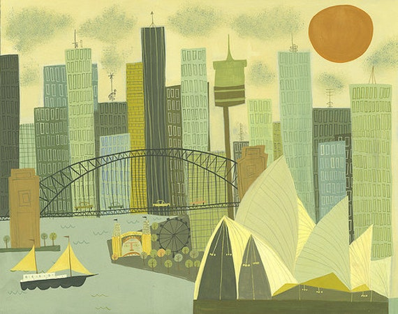 Sydney.  Limited edition 13x19 print by Matte Stephens.