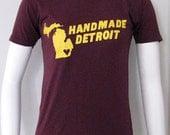 Burgandy Womens Handmade Detroit Tee