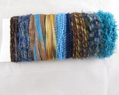 Yarn fiber collection craft kit teal blue green petrol brown beige light blue