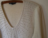 vintage silk angora puff sleeve sweater. cascading pearls.