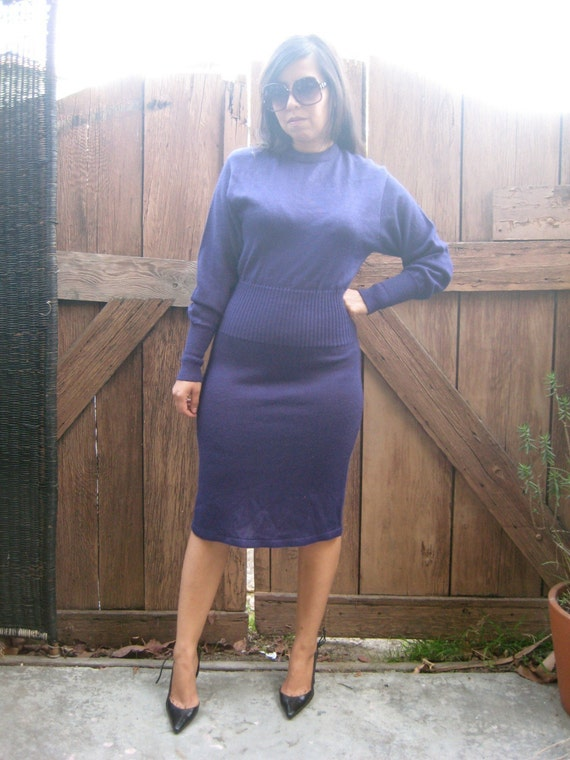vintage plum backless sweater dress. hourglass.