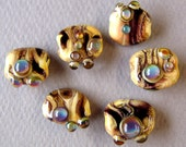 California Crafts - Opal Jewels set of 6 lampwork beads