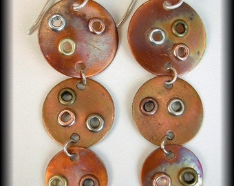 "SOHO - ""Industrial"" Handforged & Flamed Copper  Earrings"
