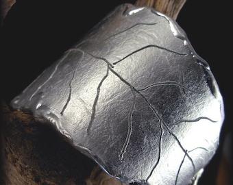 LEAF CUFF -  Handforged Pewter Leaf Cuff Bracelet