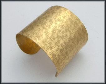 RAW SILK - Handforged Wide Raw Silk Textured Bronze Cuff Bracelet