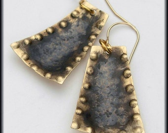 ANCIENT ARTIFACT - Handforged Antiqued Hammered Bronze and 14KT Gf Earrings