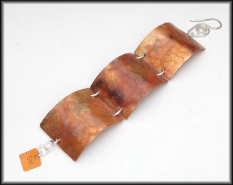 3 SECTION CUFF - Handforged Flamed Hammered 3 Section Cuff Bracelet