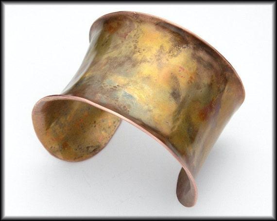 PORTIA - Handforged Wide Flamed Concave Copper Cuff Bracelet