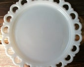 Large Vintage Milk Glass Platter Cake Plate