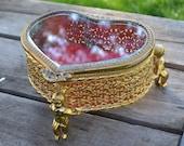 Vintage Mele  Heart Filigree Jewelry Box with Cherubs