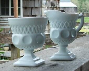 Milk Glass Creamer and Sugar Set - Royal Hill Vintage