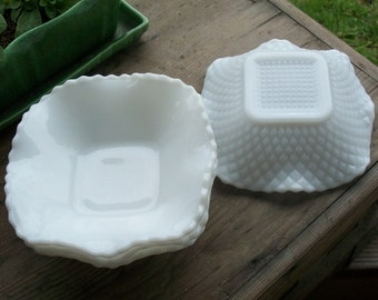 Set of 4 Square Milk Glass Dishes With Ruffled Edge and English Hobnail - Royal Hill Vintage
