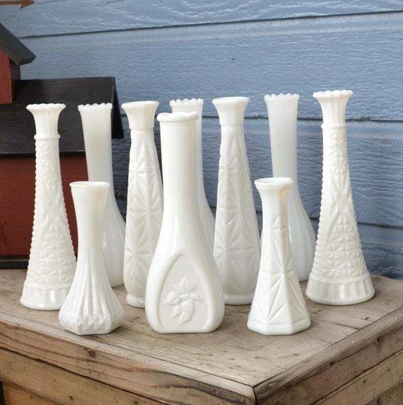 Vintage Milk Glass Bud Vases set of 10 (Set 2)