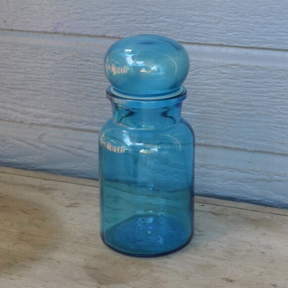 Vintage Blue Apothecary Jar made in Belgium