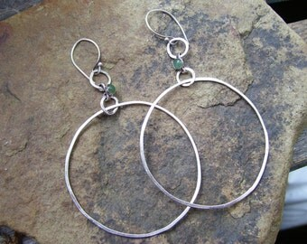 Dangly adventurine hoops,earrings,cabochon,bohemian,boho,silve,handmade,beach,party,evening,festival,Coachella,Christmas,Birthday,caftan