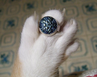 Czech Glass Button Ring Snowflake YOUR SIZE
