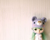 Bear hat for Blythe lilac