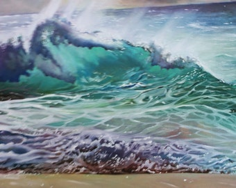 Original Oil Painting of a Wave