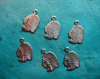 Vintage Native American Head Silver-plated Charms