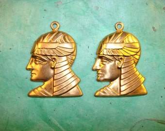 Vintage Egyption Head Brass Finding
