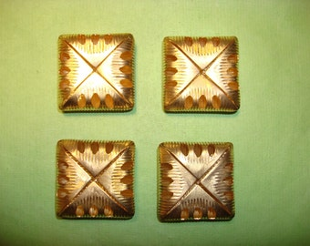 Vintage Puffed Square Brass Finding with Piercings