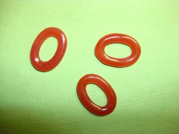 Vintage Glass Oval Links -Carnelian color