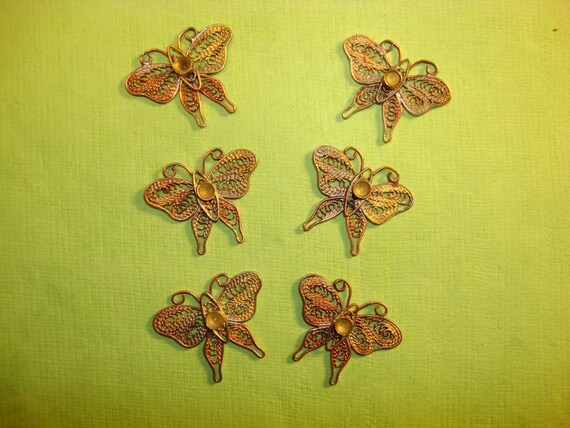 reserve for Anne-Vintage Filigree Butterfly Brass Findings-3 lots
