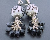 Little Black Dress Sterling Silver Lampwork Earrings, BHV, GJCTeam, SATEAM, LCJ