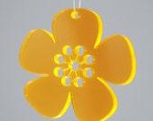5 Spring Flowers - in neon orange plexiglas