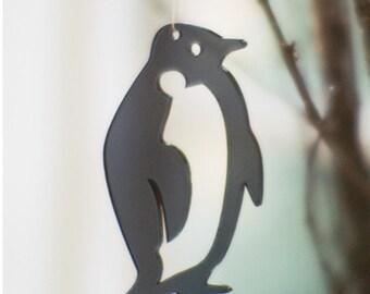 3 penguins - in grey transparent plexiglas