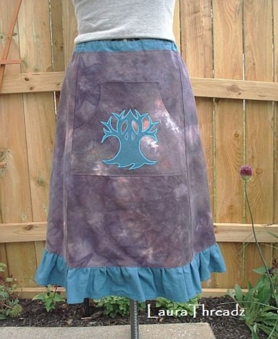 Hand dyed Hemp organic cotton a-line skirt, Peace Tree applique SALE