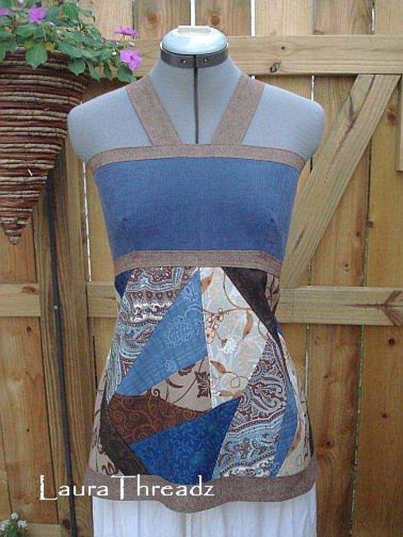 Hippie patchwork apron top, angled patches in browns and blues