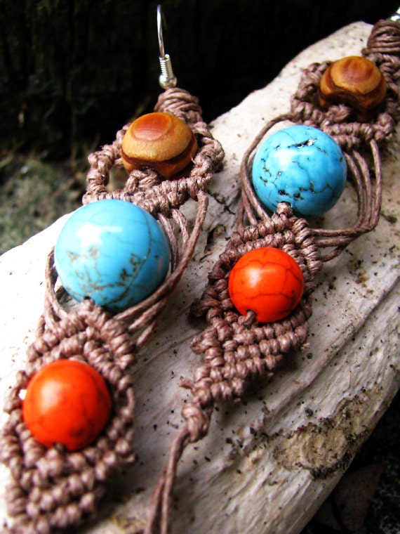 Gemstone and Wood Hemp Earrings