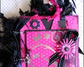 Shocking Pink, Black, Silver, Teen Girl, Mini Scrapbook