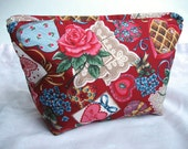 Large Sweetheart Cosmetic Bag - Flat Bottom Zipper Pouch