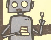 Robot vs. Cake - Limited Edition Hand-Pulled Print
