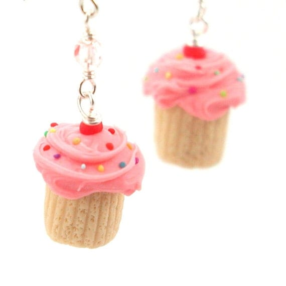 Birthday cupcake earrings : pink sprinkle vanilla cupcake - food jewelry