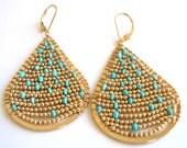Turquoise earrings Gold earrings Wire wrapped teardrop earrings