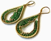 Wire wrapped gold and green quartz earrings