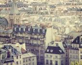 Paris Calling - Rooftops, Paris Decor, Purple, City View, Urban Art, 8x8